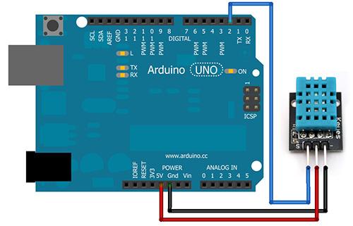 DHT sensor pinout wiring arduino